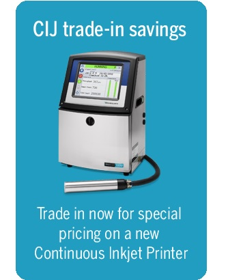 Save up to $4,000 towards the purchase of a new Videojet 1000 Line continuous inkjet printer (CIJ)
